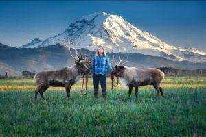 Woman with 2 deer